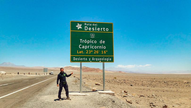 Placa Indicativa Trópico de Capricórnio, San Pedro de Atacama