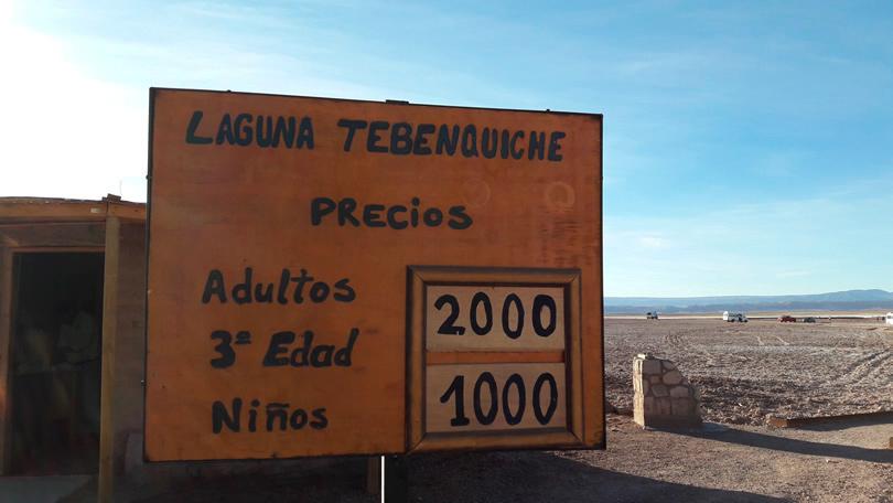 Preços para a entrada na Laguna Tebinquinche, Atacama Laguna Cejar