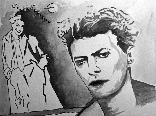 desenho em preto e brando de David Bowie